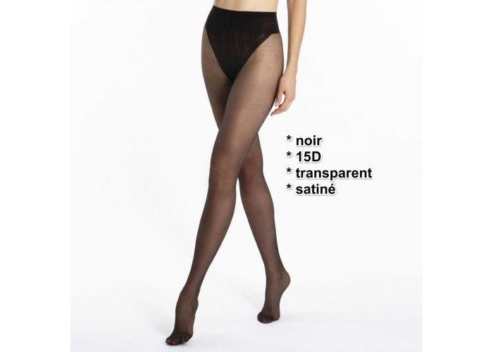 Le Bourget 1KJ1 transparent satiné 15D pantys /collants zwart