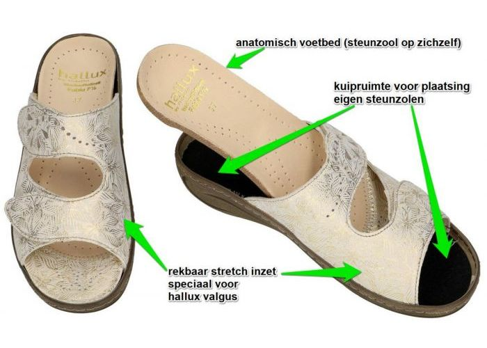 Fidelio Hallux 434029 FABIA (F½) slippers & muiltjes beige