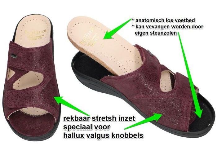 Fidelio Hallux 434113 (F½) slippers & muiltjes bordeaux
