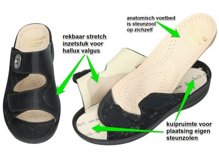 Fidelio Hallux 456003 JESSY (J) slippers & muiltjes zwart