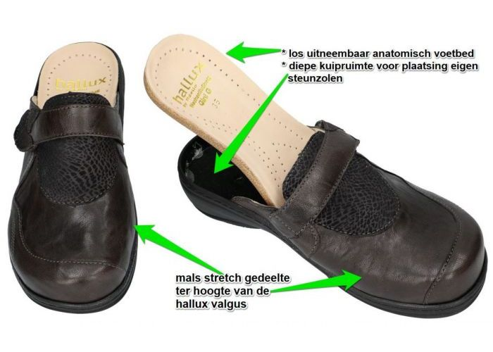 Fidelio Hallux 445030 HALLUX GINI (G) slippers & muiltjes grijs  donker