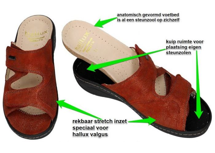 Fidelio Hallux 434113 HALLUX FABIA (F½) slippers & muiltjes roest (bruin-rood)