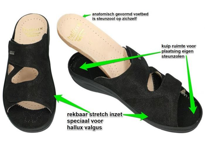 Fidelio Hallux 434113 FABIA (F½) slippers & muiltjes zwart