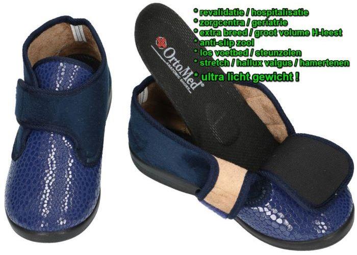 Ortomed 6011 S29/T37L ladies slippers pantoffels blauw