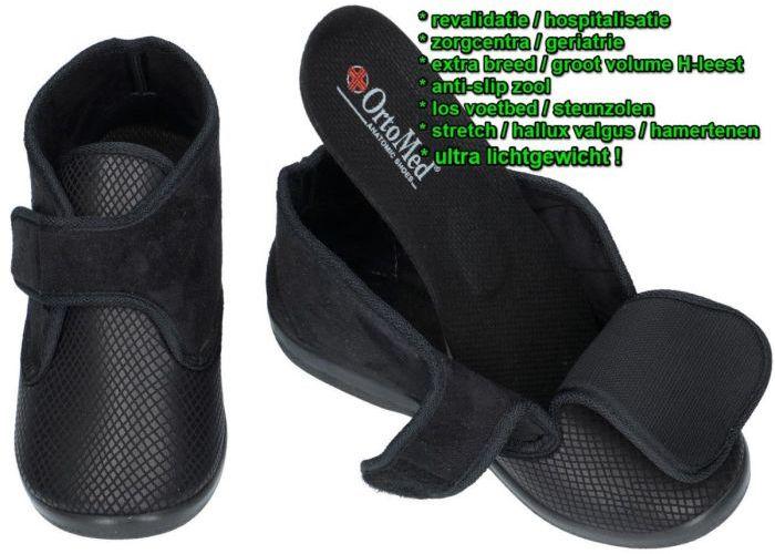 Ortomed 6011 S05-T44-PU lady slippers pantoffels zwart