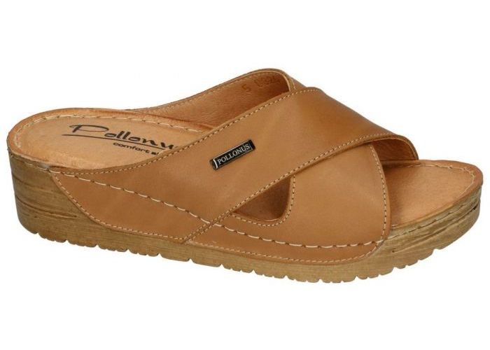 Damesschoenen Pollonus Comfort Shoes SLIPPERS & MUILTJES 5-0826-025 KLAPEK DAMSKI Cognac/caramel