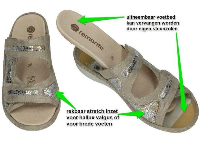 Remonte D7639-90 slippers & muiltjes goud