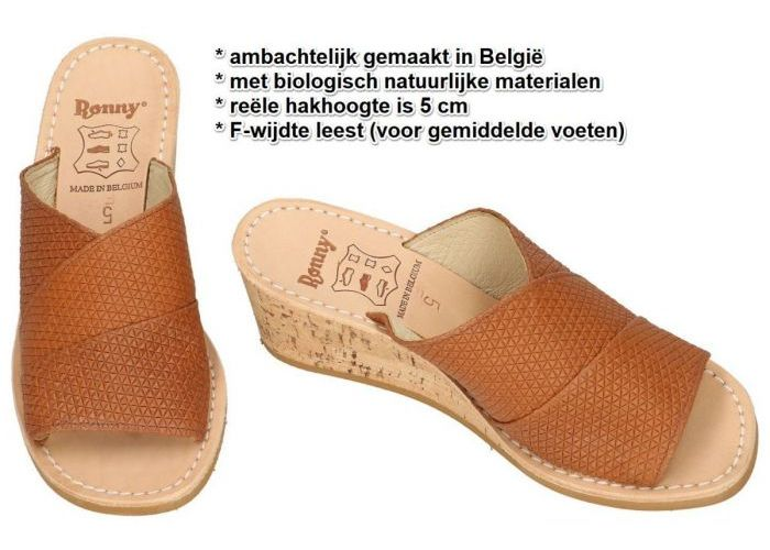 Ronny 9055  5cm F slippers & muiltjes cognac/caramel