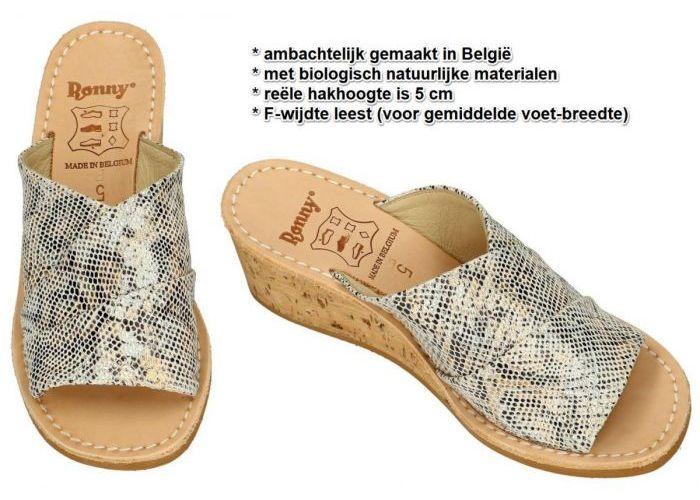 Ronny 9055  5cm F slippers & muiltjes goud