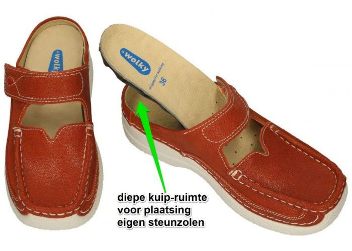 Wolky 11398 slippers & muiltjes roest (bruin-rood)