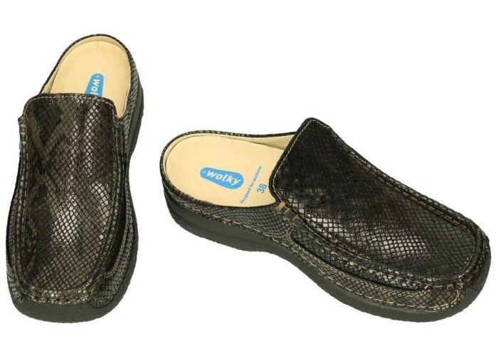 Wolky 0620292 Roll Slide Gumus leather slippers & muiltjes bruin donker