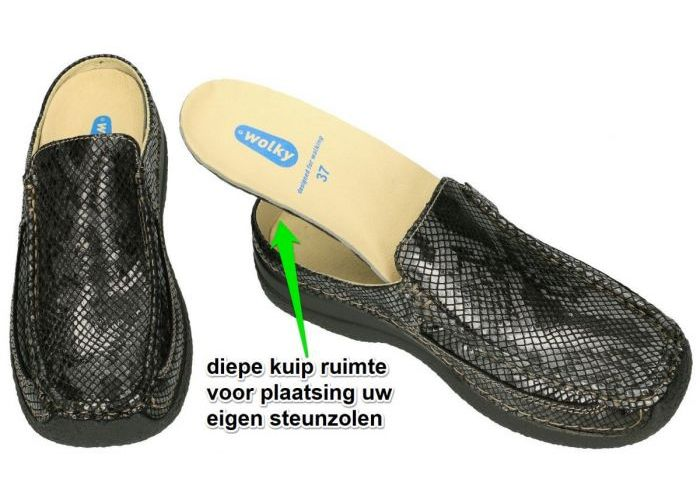 Wolky 0620292 Roll Slide Gumus leather slippers & muiltjes grijs  donker